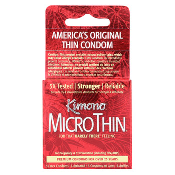 Mayer Laboratories Kimono Micro Thin Lubricated Latex Condoms - 3 Pack