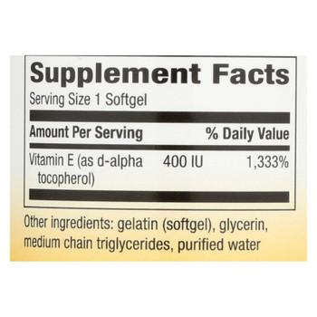 Nature's Way - Vitamin E - 400 Iu - D-alpha Tocopherol- 100 Softgels