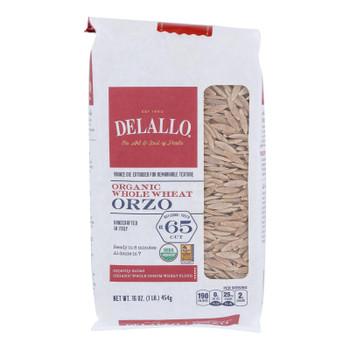 Delallo - Organic Whole Wheat Orzo Pasta - Case Of 16 - 16 Oz.