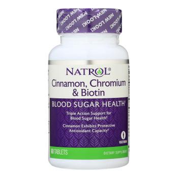 Natrol Cinnamon Biotin Chromium - 60 Tablets