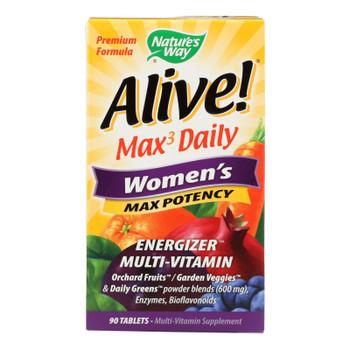 Nature's Way - Alive! Max3 Women's Multi-vitamin - Max Potency - 90 Tablets