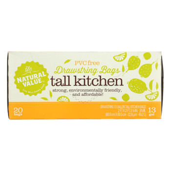 Natural Value Tall Kitchen Bags - Drawstring - 20 Count - Case Of 12