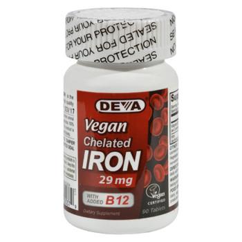 Deva Vegan Vitamins - Chelated Iron - 29 Mg - 90 Tablets