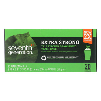 Seventh Generation Extra Strong Tall Kitchen Trash Bags - 13 Gallon - Case Of 12 - 20 Count