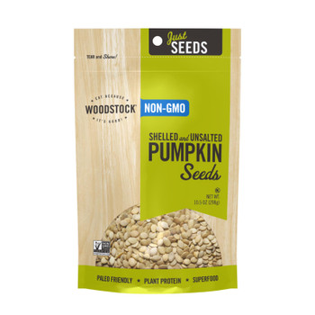 Woodstock Non-gmo Shelled And Unsalted Pumpkin Seeds - Case Of 8 - 10.5 Oz