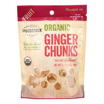 Woodstock Fruit - Organic - Ginger - Chunks - Crystallized - 5.5 Oz - Case Of 8