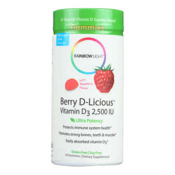Rainbow Light Berry-d-licious Vitamin D3 Ripe Raspberry - 2500 Iu - 50 Gummies
