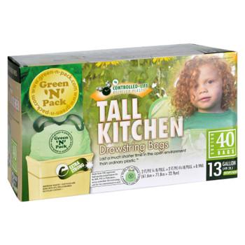 Green-n-pack Tall Kitchen Trash Bags - 13 Gallon - 40 Pack