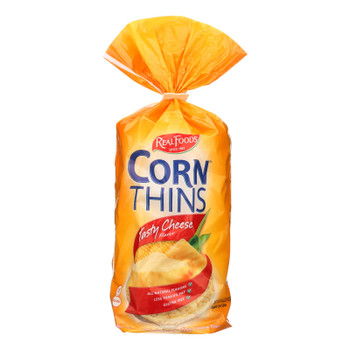 Real Foods Corn Thins - Tasty Cheese - Case Of 6 - 4.4 Oz.