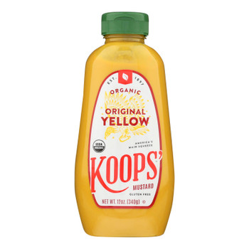 Koops' Organic Mustard: Yellow Gluten Free - Case Of 12 - 12 Oz