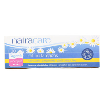 Natracare 100% Organic Cotton Tampons - Super Plus - 20 Pack