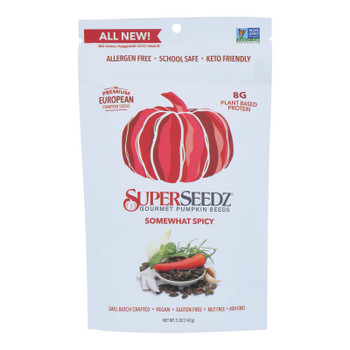 Superseedz Gourmet Pumpkin Seeds - Somewhat Spicy - Case Of 6 - 5 Oz.