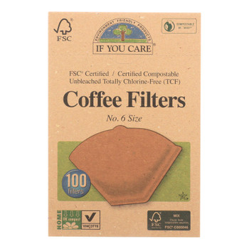 If You Care Coffee Filters Lbs.6 Cone Unbleached - Case Of 12 - 100 Count