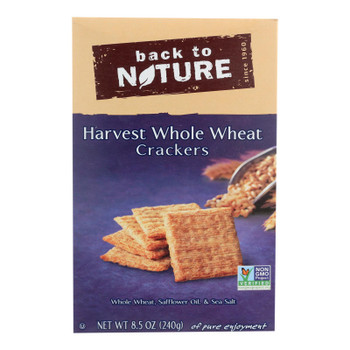 Back To Nature Harvest Whole Wheat Crackers - Whole Wheat Safflower Oil And Sea Salt - Case Of 12 - 8.5 Oz.