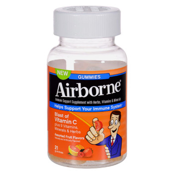 Airborne - Vitamin C Gummies For Adults - Assorted Fruit Flavors - 21 Count