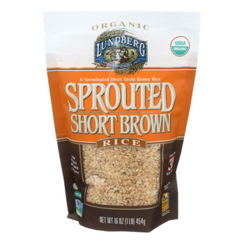 Lundberg Family Farms Sprouted Short Brown Rice - Case Of 6 - 1 Lb.