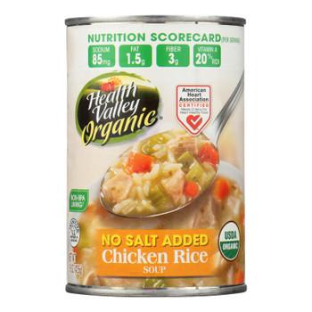 Health Valley Organic Soup - Chicken Rice No Salt Added - Case Of 12 - 15 Oz.