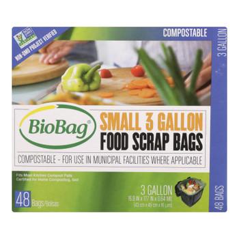 Biobag - Food Scrap Bags - 3 Gallon - 48 Count - Case Of 12