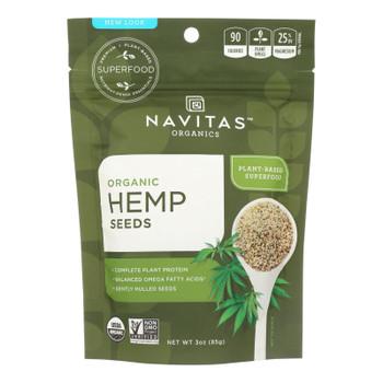 Navitas Naturals Hemp Seeds - Organic - Hulled - 3 Oz - Case Of 12