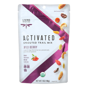 Living Intentions Organic Sprouted Trail Mix - Wild Berry - Case Of 6 - 7 Oz.