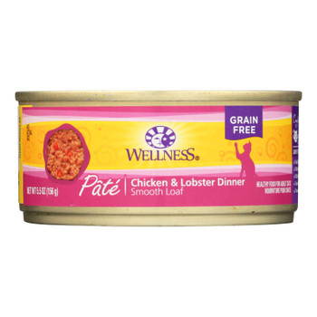 Wellness Pet Products Cat Food - Chicken And Lobster - Case Of 24 - 5.5 Oz.