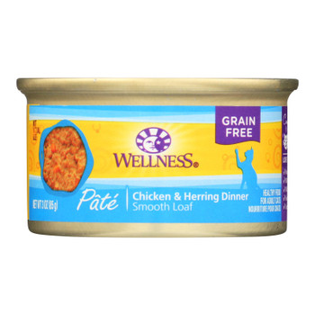Wellness Pet Products Cat Food - Chicken And Herring - Case Of 24 - 3 Oz.