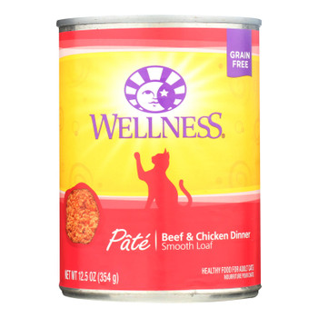 Wellness Pet Products Cat Food - Beef And Chicken - Case Of 12 - 12.5 Oz.