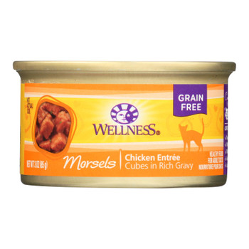 Wellness Pet Products Cat Food - Cubed Chicken Entree - Case Of 24 - 3 Oz.