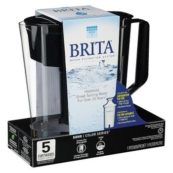 Brita - Soho Pitcher Water Filtration System - Black - Case Of 2