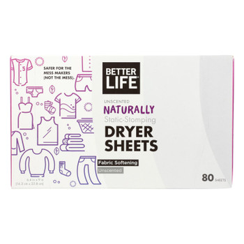Better Life Dryer Sheets - Unscented - Case Of 6 - 80 Count