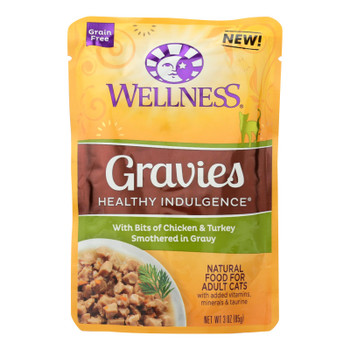 Wellness Pet Products Cat Food - Gravies With Bits Of Chicken And Turkey Smothered In Gravy - Case Of 24 - 3 Oz.