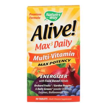 Nature's Way - Alive! Max3 Daily Multi-vitamin - Max Potency - 90 Tablets