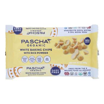 Pascha Organic Rice Milk Chocolate Baking Chips - White Chocolate - Case Of 8 - 7 Oz