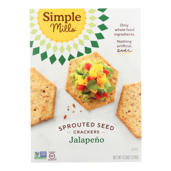 Simple Mills Sprouted Seed Crackers - Jalapeno - Case Of 6 - 4.25 Oz