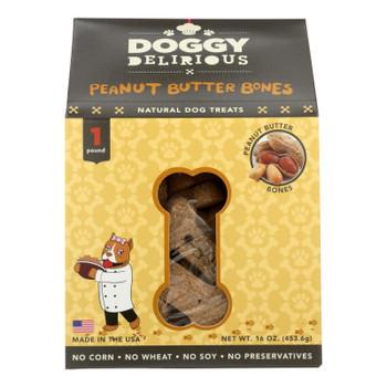 Doggy Delirious Dog Treats - Peanut Butter Bones - Case Of 6 - 16 Oz