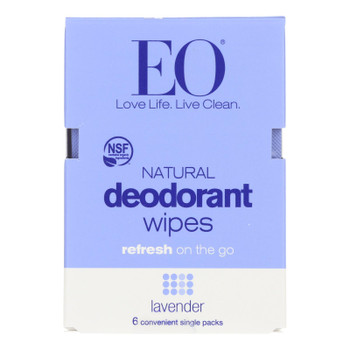 Eo Products - Deodorant Wipes - Lavender - Case Of 12 - 6 Count