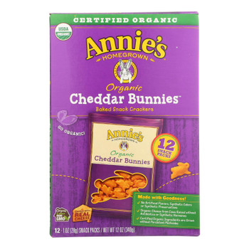 Annie's Homegrown Organic Bunny Cracker Snack Pack - Cheddar - Case Of 4 - 12/1 Oz