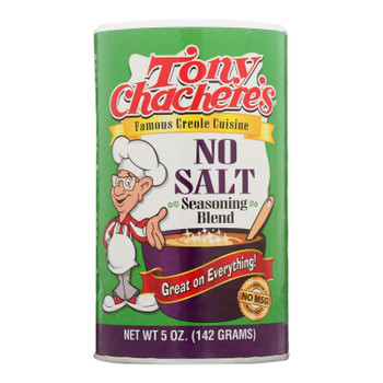 Tony Chachere's Seasoning - Creole - No Salt - Case Of 6 - 5 Oz