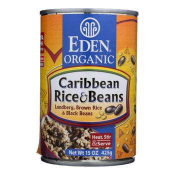 Eden Foods Caribbean Lundberg Brown Rice And Black Beans - Case Of 12 - 15 Oz.