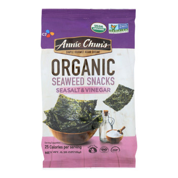Annie Chun's Seaweed Snack - Sea Salt And Vinegar - Case Of 12 - .35 Oz.