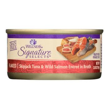 Wellness Pet Products - Signature Selects Cat Food - Skipjack Tuna And Wild Salmon Entree In Broth - Case Of 12 - 2.8 Oz.