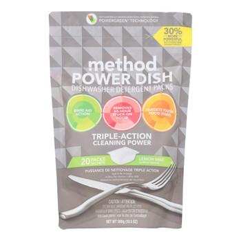 Method - Power Dish Dishwasher Detergent Packs - Lemon Mint - 20 Packs - Case Of 6 - 10.5 Oz.