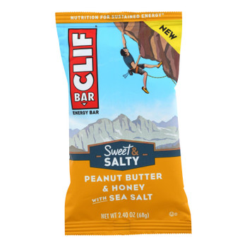 Clif Bar - Sweet And Salty Energy Bar - Peanut Butter And Honey With Sea Salt - Case Of 12 - 2.4 Oz.