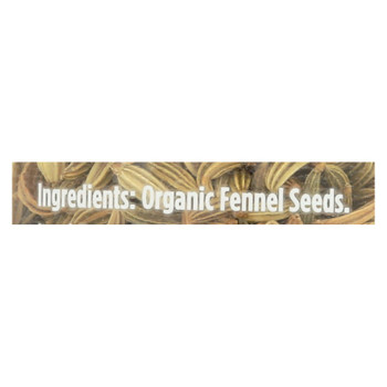 Spicely Organics - Organic Fennel - Seeds - Case Of 3 - 1.1 Oz.