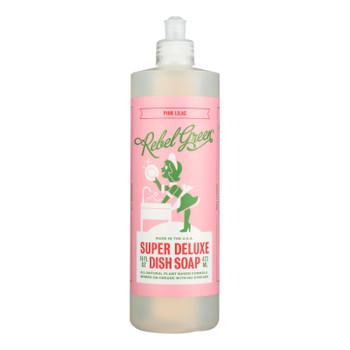 Rebel Green - Liquid Dish Soap - Pink Lilac - Case Of 4 - 16 Oz.