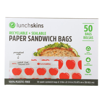 Lunchskins - Recyclable And Sealable Paper Sandwich Bags - Red Apple - Case Of 12 - 50 Count