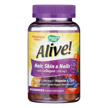 Nature's Way - Alive! Hair Skin And Nails Gummies With Collagen - 60 Gummies