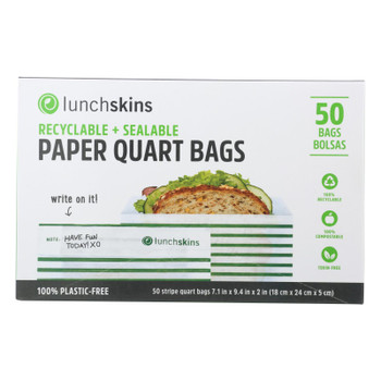Lunchskins - Paper Sandwich Bags - Green Stripe - Case Of 12 - 50 Count