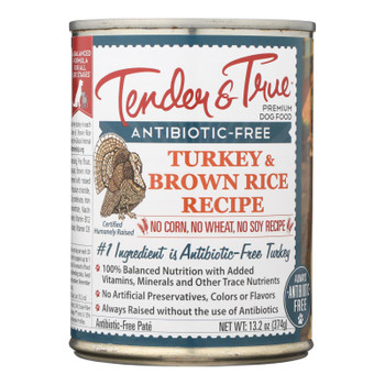 Tender & True Dog Food Turkey And Brown Rice - Case Of 12 - 13.2 Oz