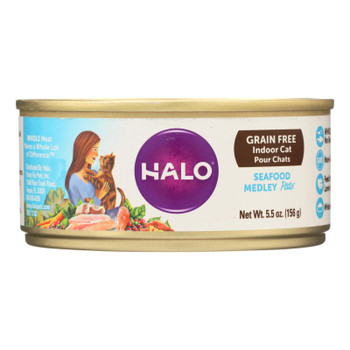 Halo Purely For Pets Indoor Cat Grain Free Seafood Medley Recipe Pate  - Case Of 12 - 5.5 Oz